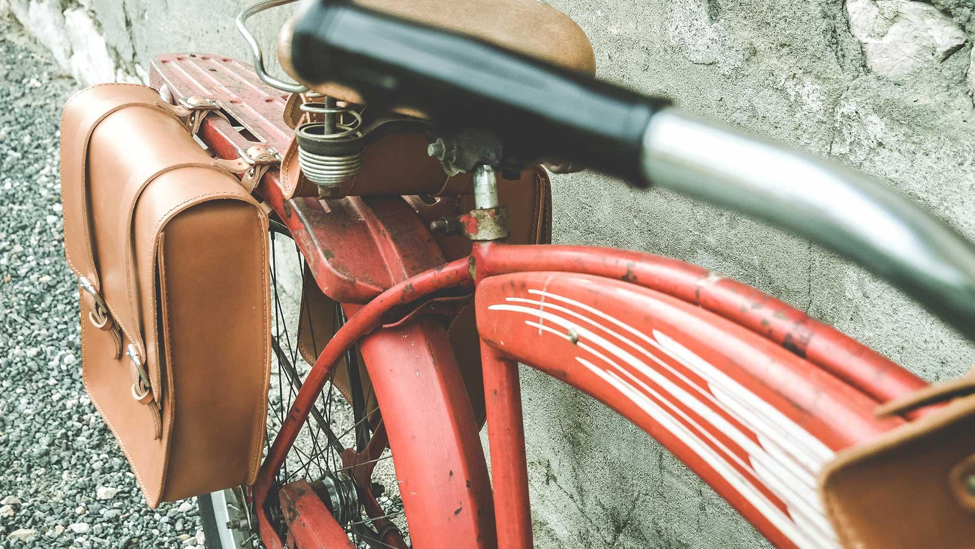 borse bici laterali in pelle impermeabili