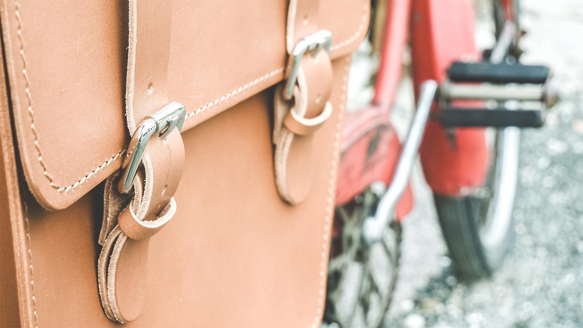 borse bici laterali in pelle vintage